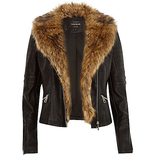 leather-look faux fur biker jacket