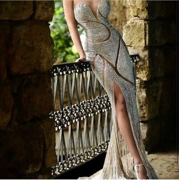 dress silver slit open crystals silver crystal sparkly dress long dress spilt