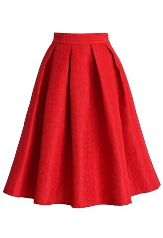 chicwish jacquard rose skirt red pleated midi skirt