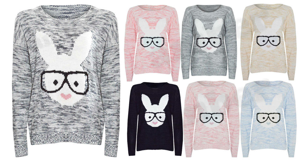 Ladies Women New Rabbit Bunny Geek Glasses Knitted Jumper Pull Over Top Nerd Fun