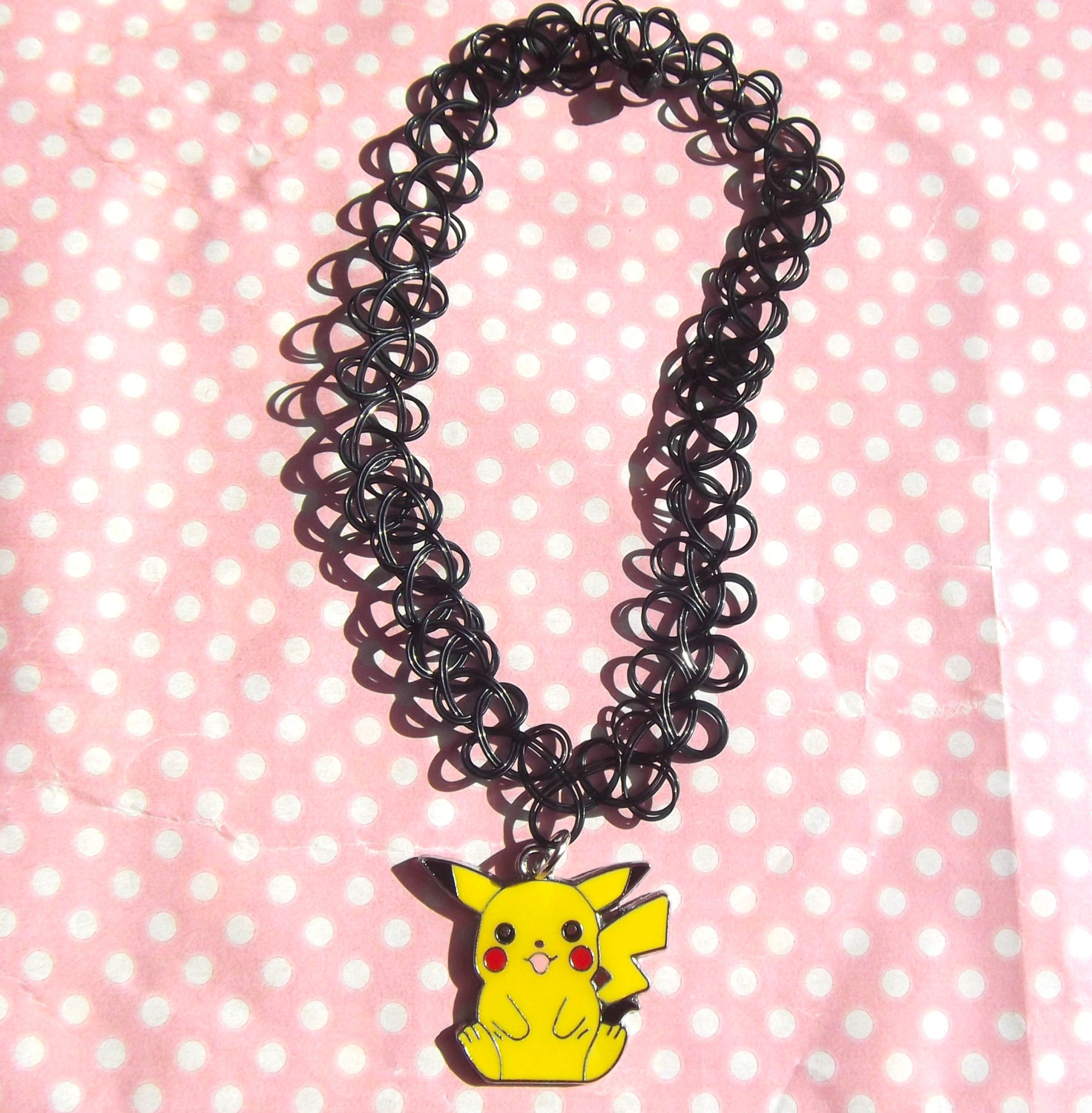 Cute Pikachu 90s black tattoo choker