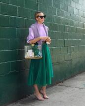 skirt,midi skirt,sunglasses,sweater,shirt,bag,mid heel sandals,belt