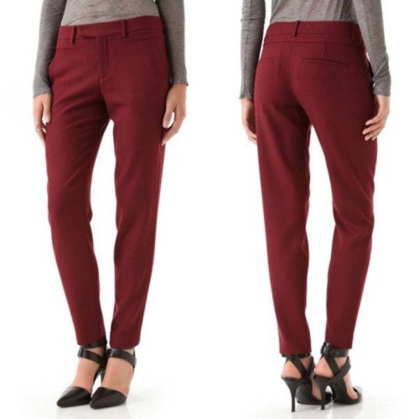 pants helmut lang wool wool pants trendy celebrity pants haute couture helmut lang pants burgundy pants wool trousers pants celebrity style celebrity style steal online boutique affordable designer fashion boutique designer clothing