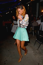 skirt,rihanna,mint,mint skirt,circle skirt,mint green skirt,shoes