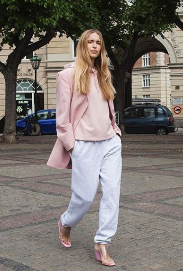 sweater hoodie pernille teisbaek sweatpants pink blogger blazer instagram