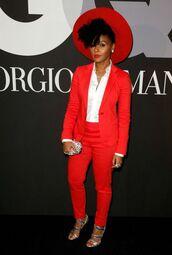 hat,red,janelle monae,suit,red carpet,blazer,pant suit,pants,wide brimmed hat