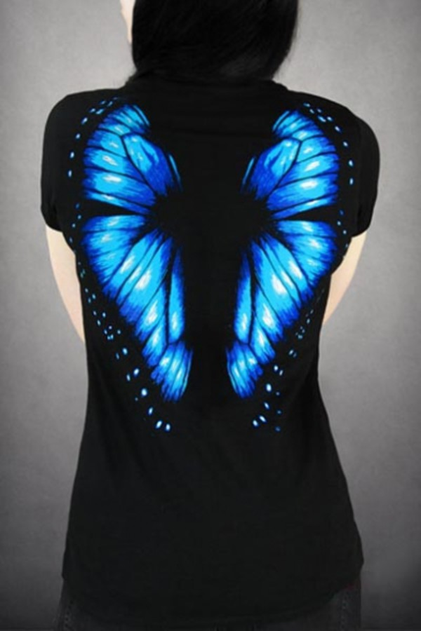 shirt black blue fashion wings trendy summer cool style butterfly spring teenagers beautifulhalo top t-shirt cute dark dark blue grunge t-shirt black blouse short sleeve printed t-shirt black top cute top Butterfly Belly Ring
