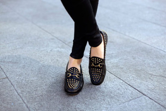 studs shoes black leather shoes black leather ballet flats loafers