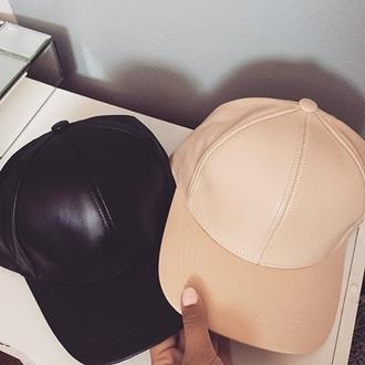 hat nude black leather baseball cap vue boutique mint grey metallic gold metallic silver
