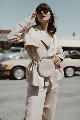 natalie off duty blogger belt bag jacket pants sunglasses shoes jewels belt bag spring outfits