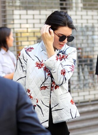 jacket floral jacket white jacket kendall jenner celebrity style celebrity model sunglasses black sunglasses aviator sunglasses spring jacket
