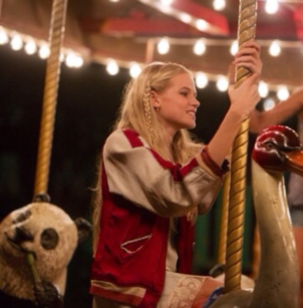 b217353932 jacket red and white jacket braid letterman jacket long hair pretty girl  gabriella wilde sexy carousel
