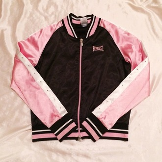 jacket pink black rhinestones zip cute girly sports everlast tracksuit