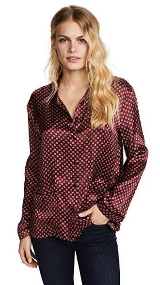 top oversized silk burgundy