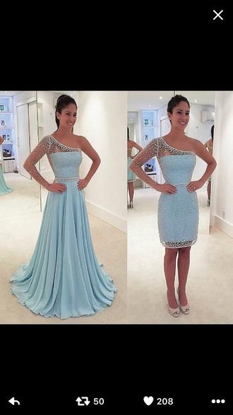 dress short dress one sleeve blue blue dress baby blue baby blue dress sequin dress mini dress party dress homecoming dress