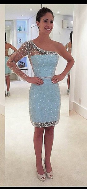 0eb89079474 dress short dress one sleeve blue blue dress baby blue baby blue dress  sequin dress mini