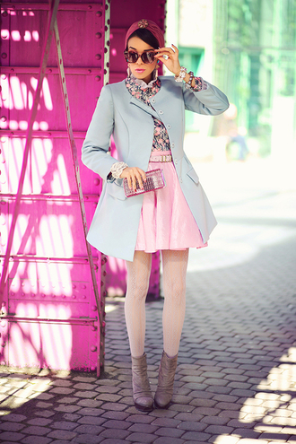 macademian girl coat shirt skirt shoes bag sunglasses jewels belt