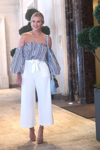 the courtney kerr blogger jewels sunglasses bag dress off the shoulder stripes striped top white pants wide-leg pants shoulder bag nude heels light blue striped off shoulder top off the shoulder top blue bag baby blue culottes palazzo pants sandals sandal heels high heel sandals nude sandals puffed sleeves