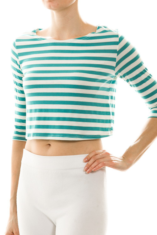 Stripe Three-Quarter Sleeve Crop Top