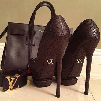 shoes yves saint laurent black heels crocodile python