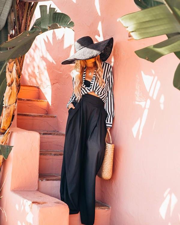 skirt black skirt long skirt maxi skirt top black and white hat black hat bag shoes