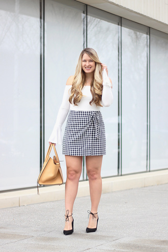 skirt mini skirt gingham skirt bell sleeves pumps blogger blogger style off the shoulder top tote bag
