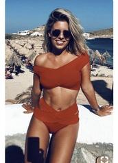 swimwear,orange,beach,cute,orange swimwear,summer,two-piece,red bikini,new zealand