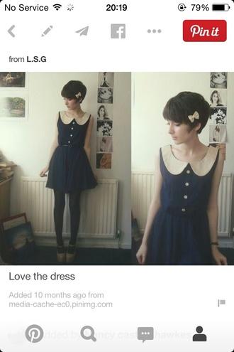 dress vintage peter-pan collar collar navy loose-fit blue dress