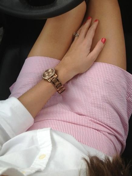 skirt pink skirt white skirt white and pink high waisted striped skirt cute skirt