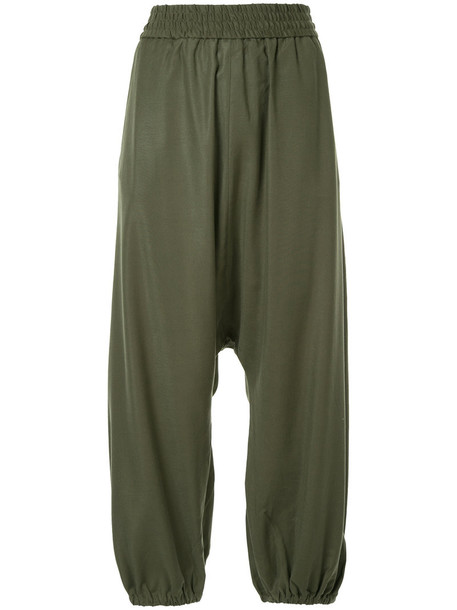 Ck Calvin Klein pants drop crotch pants women spandex green