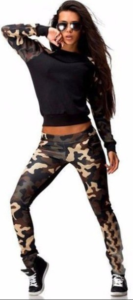 403f783b786f jumpsuit nike nike logo camouflage camouflage print print sport suit sport  set casual casual suit casual
