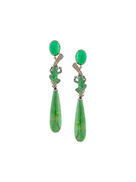 LYDIA COURTEILLE women earrings gold green brown turquoise jewels