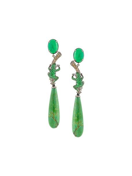 women earrings gold green brown turquoise jewels