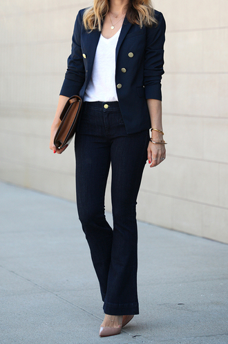 brooklyn blonde blogger blazer office outfits