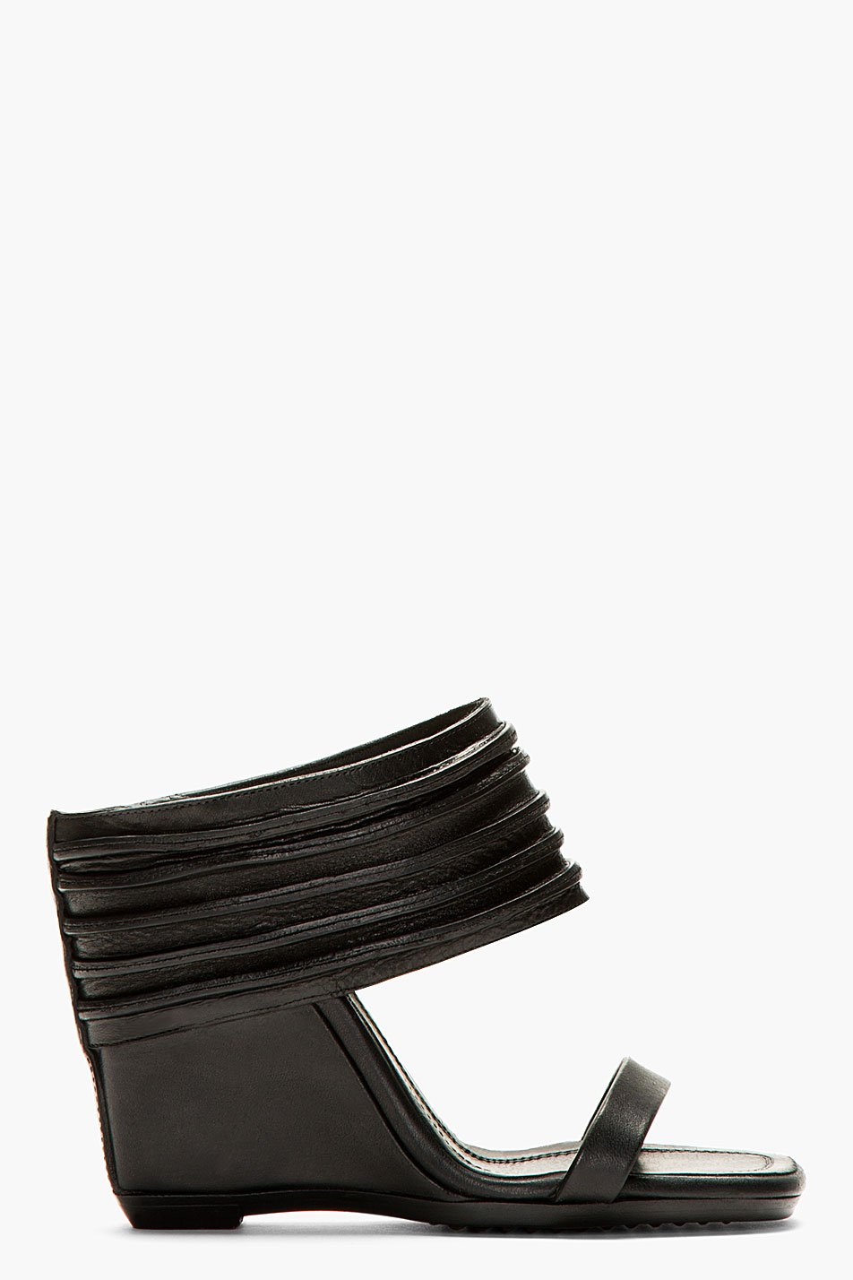 Rick owens black ribbed leather ruhlmann wedge sandals