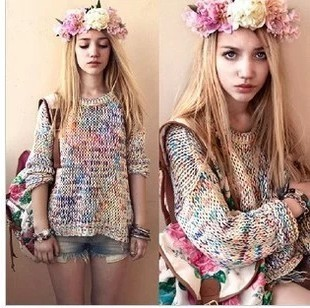 2013 NEW Autumn and Winter Sweet Gentlewomen Topshop Vintage Rainbow jumper knitted Sweater Women Pullover Brand Free Shipping-inPullovers from Apparel & Accessories on Aliexpress.com