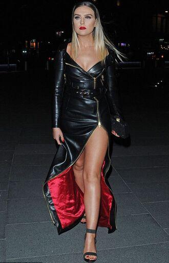 dress zip perrie edwards little mix slit dress maxi dress leather leather dress