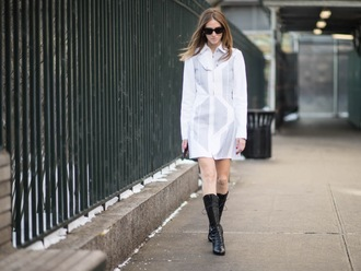 the blonde salad blogger dress sunglasses black boots long sleeve dress
