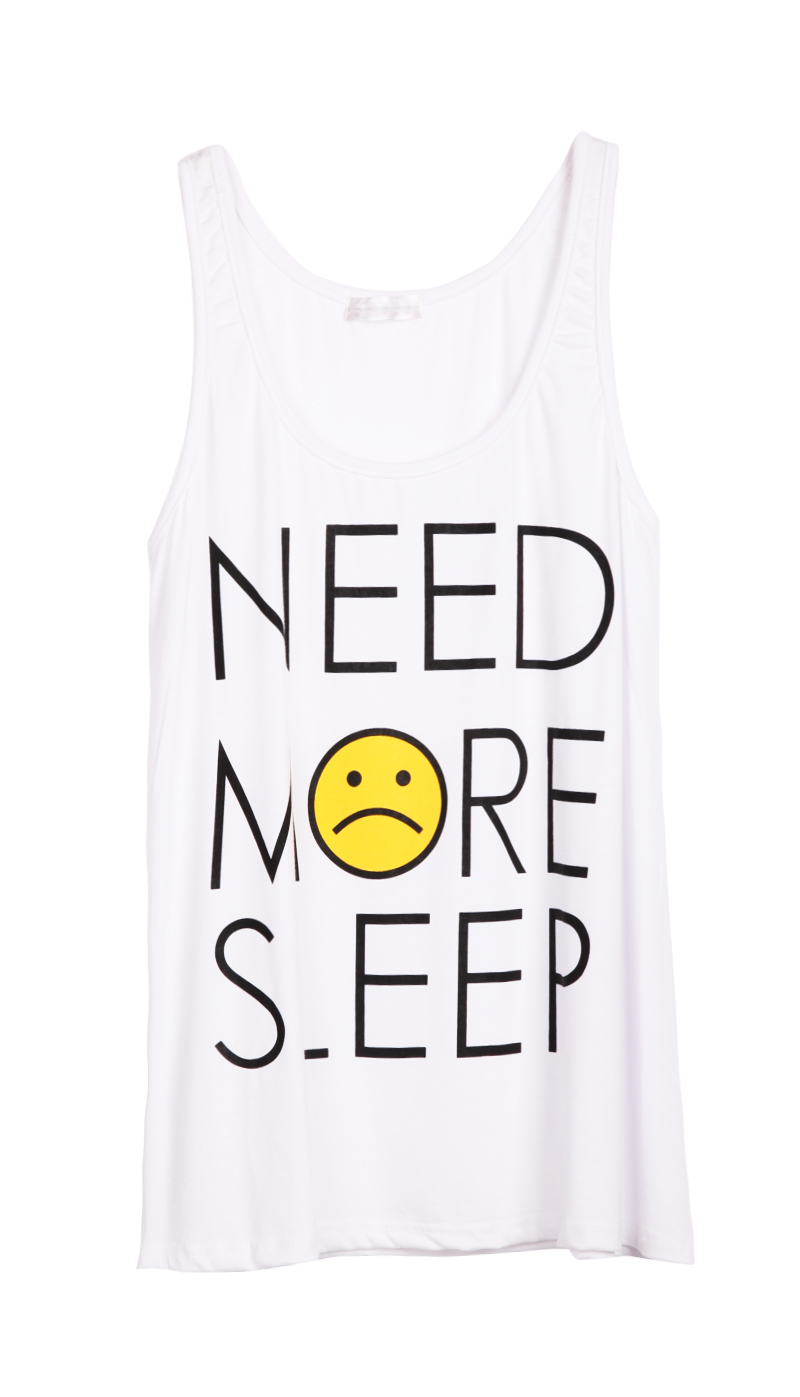 White Sleeveless NEED MORE SLEEP Print T-Shirt - Sheinside.com