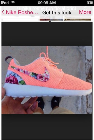 shoes nike nike roshe run orange roshes nike floral
