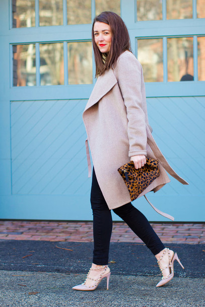 sequins and stripes blogger coat t-shirt shoes bag make-up