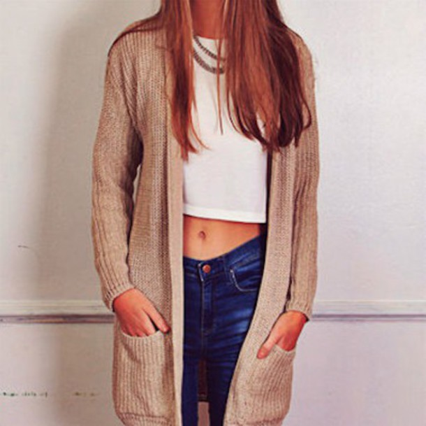sweater tan sweater style outfit jeans skinny jeans denim top cropped  sweater weather brown sweater blue - Sweater: Tan Sweater, Style, Outfit, Jeans, Skinny Jeans, Denim