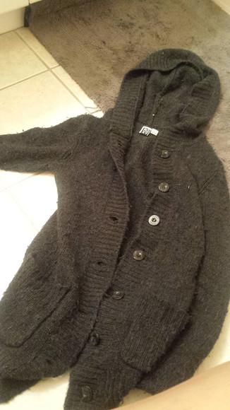 knitwear jacket roxy grey hoodie wool buttons