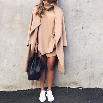 tumblr mini dress asymmetrical asymmetrical dress sneakers bag black bag bucket bag turtleneck turtleneck dress all beige everything beige coat nude dress nude coat camel camel coat fall colors fall outfits
