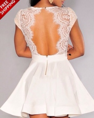 dress prom dress white lace white lace dress white dress fit and flare dress