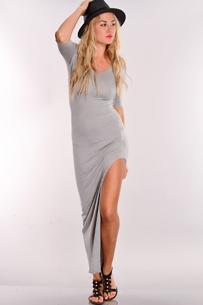 Grey Bare Shoulders Side Slit Maxi Dress