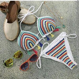 swimwear capittana swimwear bikini crochet crochet bikini designer swimwear tassel tie sides triangle top