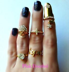 5 Piece Skull Cross Hope Gold MIDI Ring Set Bling Hip Hop Jewelry | eBay