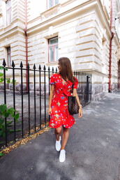 dress,tumblr,floral,floral dress,red dress,summer dress,summer outfits,sneakers,white sneakers,low top sneakers,wrap dress,shoes