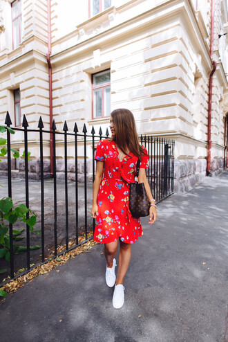 dress tumblr floral floral dress red dress summer dress summer outfits sneakers white sneakers low top sneakers wrap dress shoes
